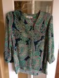 Blue and green paisley top size XL