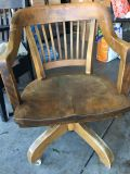 Antique, solid hardwood office chair