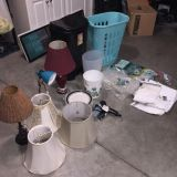 Must take all and by 2pm today. Bathroom set, trash cans dishes blow dryer hamper lamp shades (lamps gone) desk lamp.