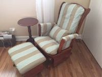 Rocking chair with ottoman and table