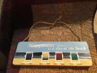 Wooden Wall Hanging Plaque Sign Happiness is a day at the beach Swap Only