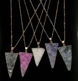 Dyed Natural Druzy Agate Gold Laced Crystal Pendant with Gold Necklace