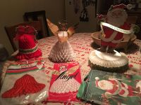 Three vintage honeycomb paper Christmas decorations. Original bags and envelope.