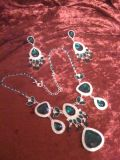 Hollywood Glamour Emerald & Silver Set of Jewelry