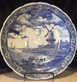 Vintage Blue and White Delft Charger
