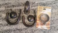 Big chunky Oil rubbed bronze curtain hold backs |matching wall hook|6 Rustic Iron rings with hooks