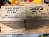 For Sale: Lake City .30 Caliber Ball M2 Ammo - 20 boxes