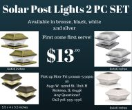 Solar post lights 2pc set for lawn, garden, patio, yard