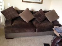 $75, Moving Sale Ashley Furniture Microfiber Brown Couch and black desk