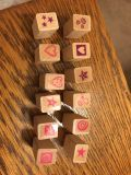 Little mini s stamp set 12 stamps. Each measure just 1/2 . Very cute.