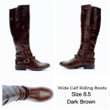 NEW IN BOX WIDE CALF DARK BROWN RIDING BOOTS