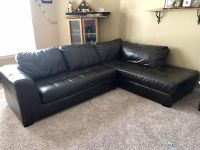 Black/brown synthetic leather couch