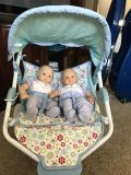 American Girl Bitty Babies, stroller, backpack and outfits
