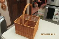 Beautiful 4-Section Wine Or Utensil Basket With Handle