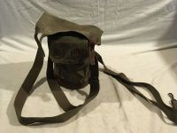 vintage military wwi wwii canvas / leather snap closed carrying pouch 02267
