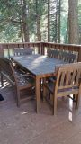 Outdoor Wood table seating for 6 people w/chair pads