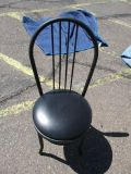 (6) Black Metal Cabaret Chair W/ Vinyl Seat RTR#7041419-20