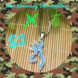 Blue Browning Deer Necklace