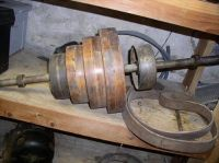 P. Pryibil wood turning lathe with accessories.