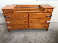 8 Drawer Cherry Dresser Changing Table with Child proof safety locks
