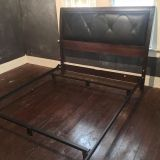 Black & Brown Headboard & Bed Frame for Queen Bed