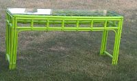 lime green bamboo wicker look sofa table with glass top