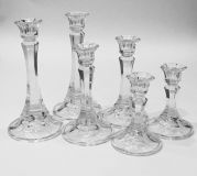 Set of 6 New Cut Crystal Candleholders (3 sizes)