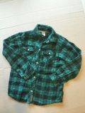 Carters girls size 7 pearl snap green flannel shirt-(b91)