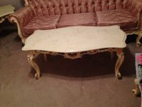 Victorian Antique Stone Top Wood Coffee Table
