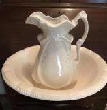 Large Off White Ceramic Water Wash Pitcher and Bowl Antique Looking