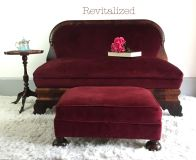 Antique burled wood and velvet settee and ottoman