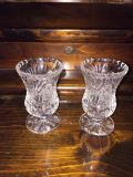 CUT GLASS LEAD CRYSTAL CANDLE HOLDERS