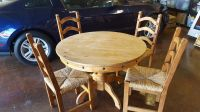 Mexican pine wood round table with 4chairs