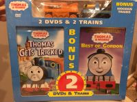 THOMAS&FRIENDS, 2 DVD s and 2 wooden trains pack