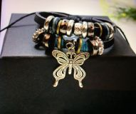 LADIES TEENS FASHION INFINITY BRACELET BUTTERFLY BEADS SILVER NEW XMAS GIFT