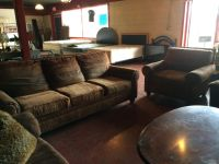 Brown Nailhead Matching Couch and Chair Set