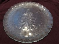 Glass platter with Christmas tree. 12 inches across.