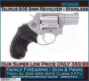 For Sale: Taurus M905 9mm Revolver at a Super Low Price of ONLY 369.99
