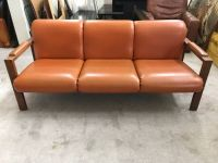Three Seater Brown Vinyl/Wood Base Sofa