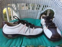 EUC Womens sz 39 Ecco Golf Shoes 8 1/2 pink gray white brown leather