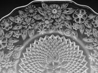 DEPRESSION GLASS PINEAPPLE & FLORAL PATTERN, 74PCS, ...