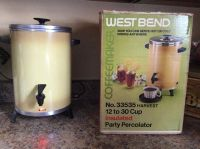 Vintage west bend coffee maker percolator 12-30 cup cold or hot dink dispenser . I have original box,manual and paper work.