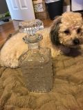 Large vintage glass decanter with stopper that is in perfect condition