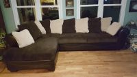 Chocolate Sectional Sofa with Round Chair