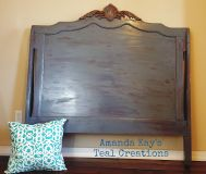 Dark charcoal full size headboard with cherry wood antiqued