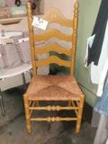 Old wooden and wicker seat chair