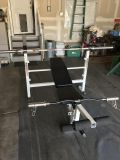 Bench press, bars and weight/plate set