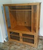 Selling For My Parents: Vintage Solid Wood Entertainment Center With Glass Side Shelves & Lower Storage Unit (Excellent Used Vintage...