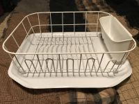 Large white dish drain with bottom. Paid $15 for the drain and $10 for the base. Used for 4 months until I could get a new dish washer.