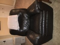Leather sofa sectional and recliner, dark chocolate